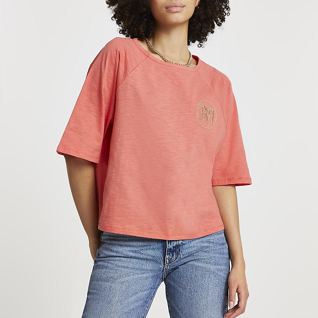 Coral 'RVR' boxy t-shirt
