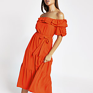 Coral short sleeve bardot  frill midi dress