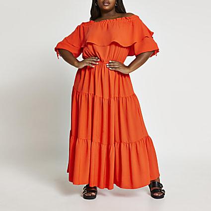 Coral short sleeve bardot smock maxi dress