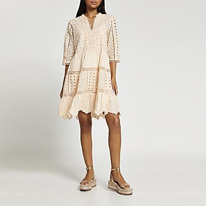 Coral short sleeve broderie shirt beach dress