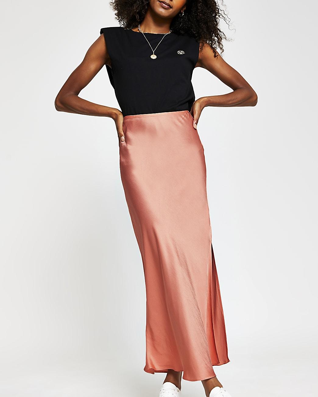 Coral side split satin skirt