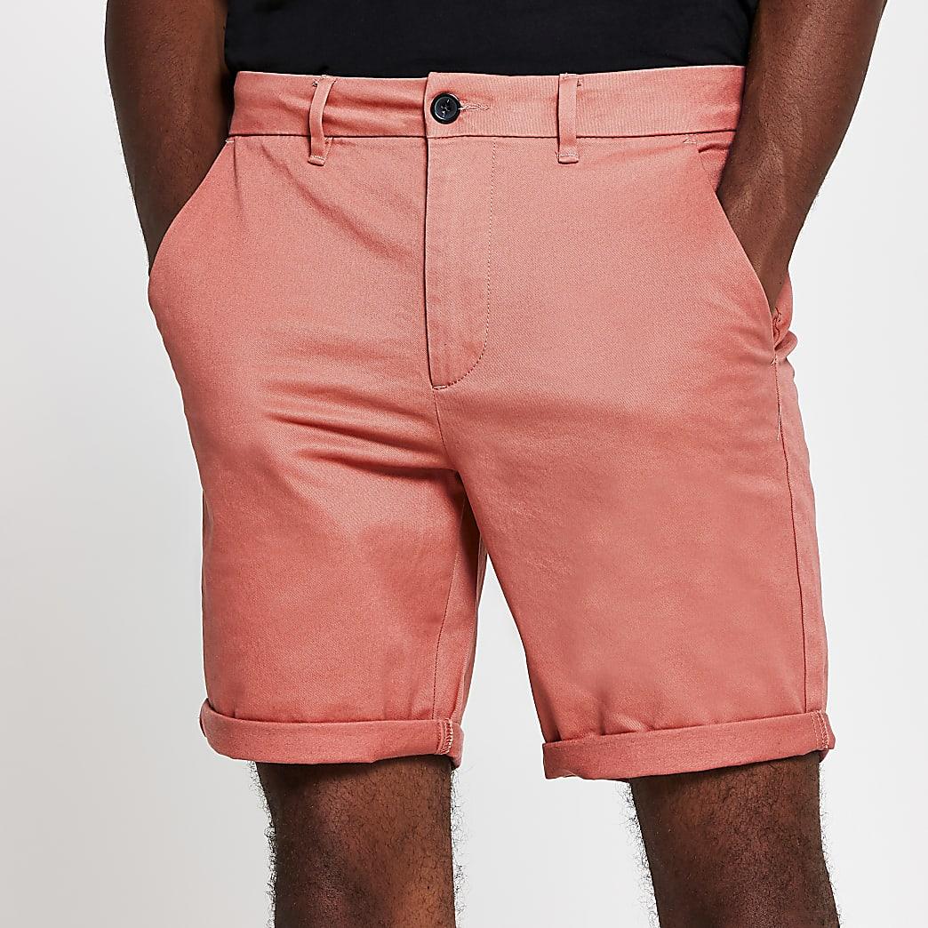 Coral skinny chino short
