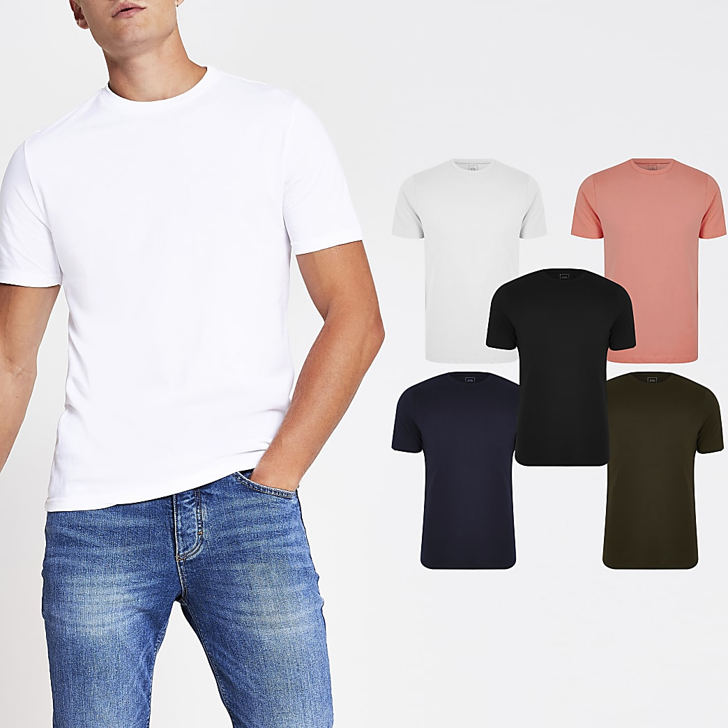 Coral slim fit T-shirt 5 pack