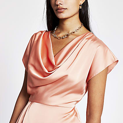 Coral Ss Cowl Neck Top