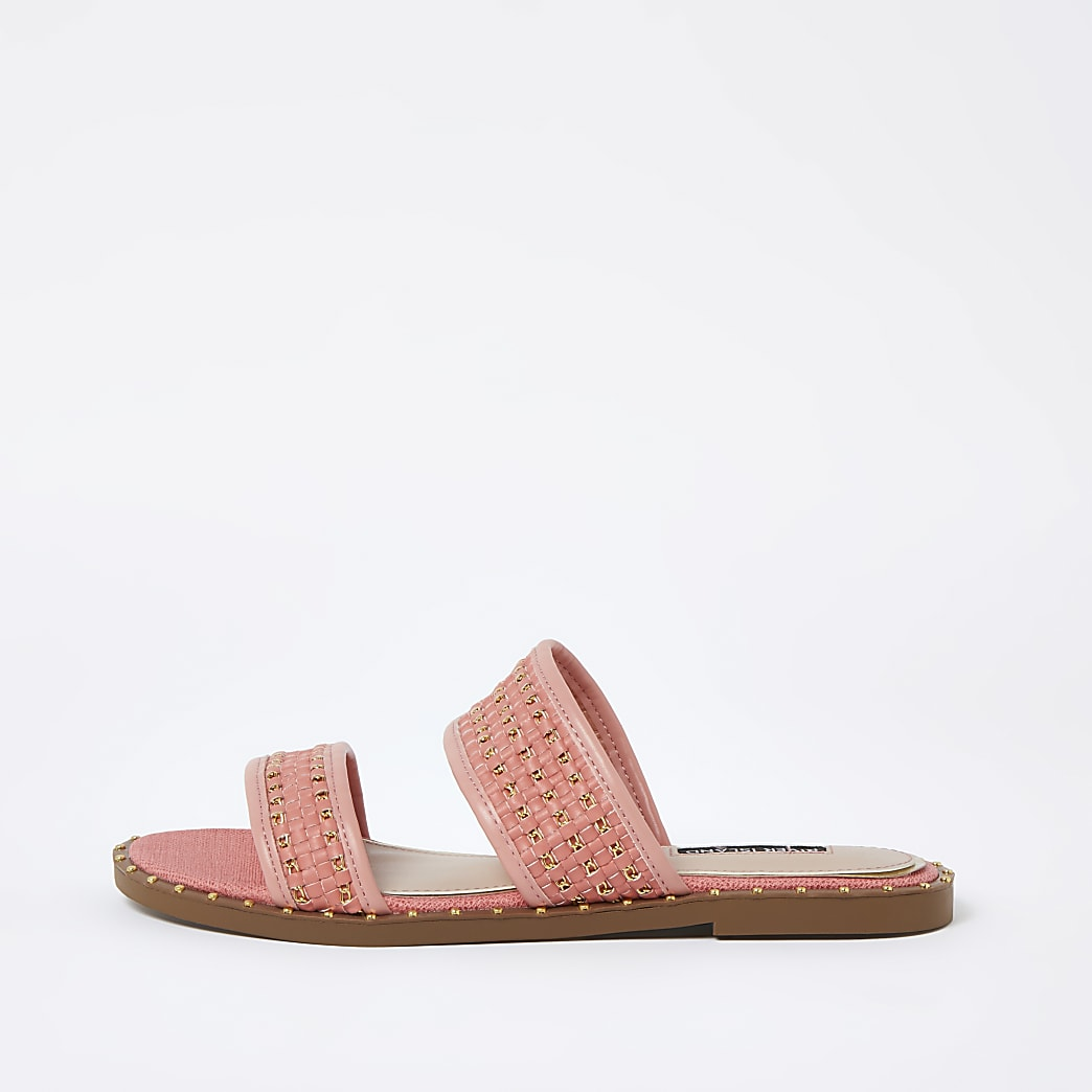 Coral stud gold chain mule sandals