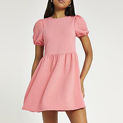 Coral textured bow back mini dress