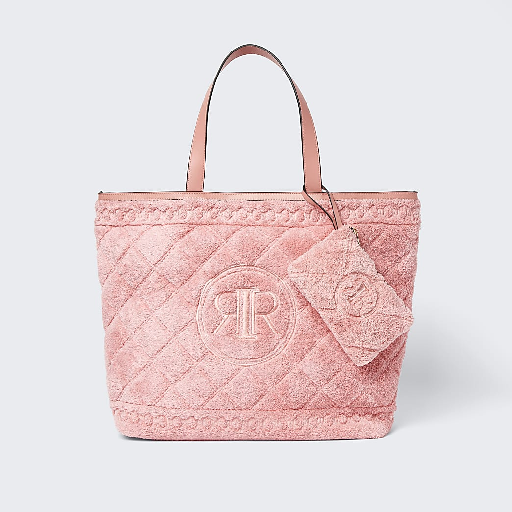 Coral towelling detail shopper bag