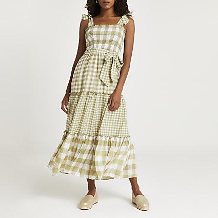 Cream & khaki gingham shirred midi dress