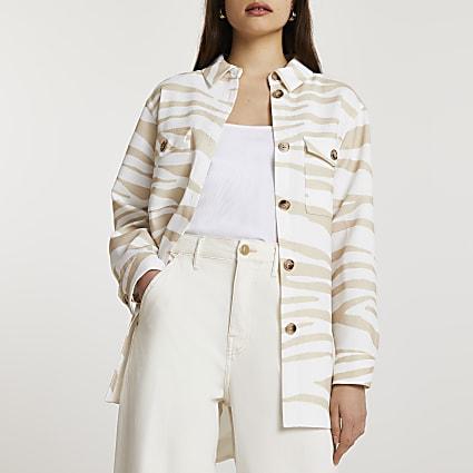 Cream animal print overshirt jacket
