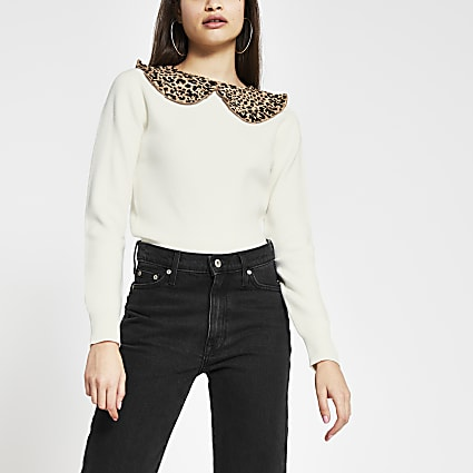 Cream animal print poplin collar jumper