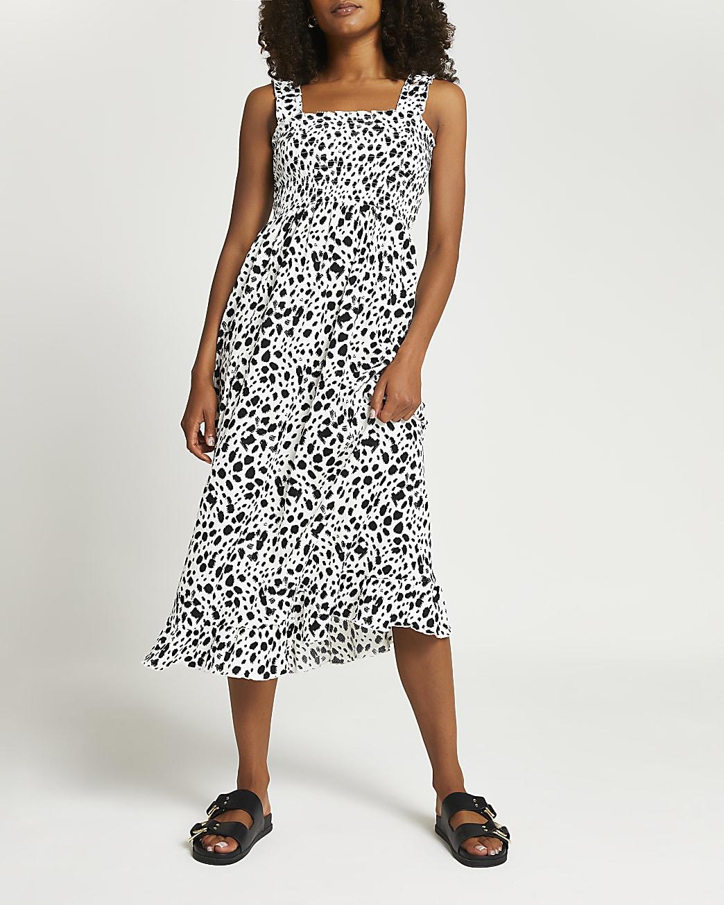 Cream animal print shirred midi dress