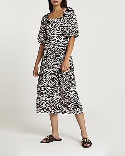Cream animal print square neck midi dress