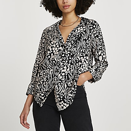 Cream animal printed long sleeve shirt
