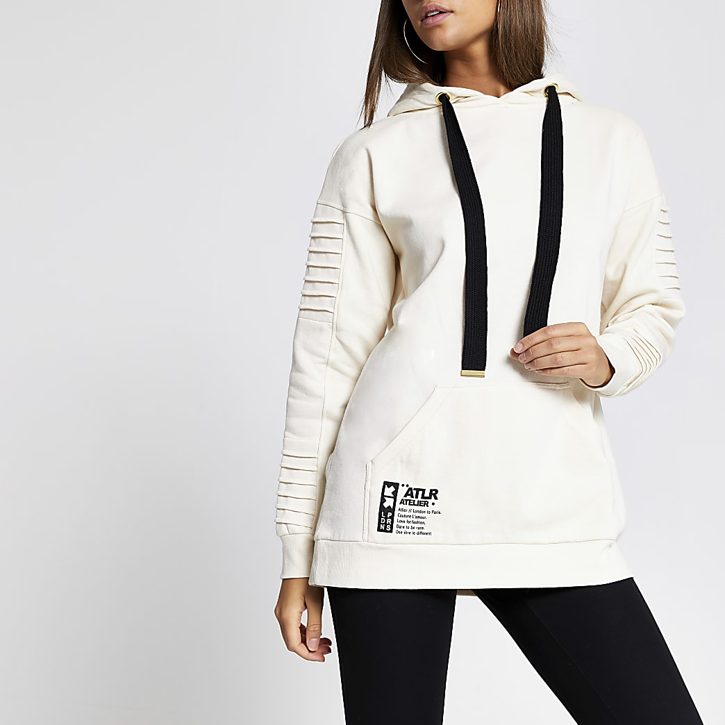 Cream 'ATLR' utility hoodie