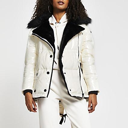 Cream aviator popper front puffer jacket