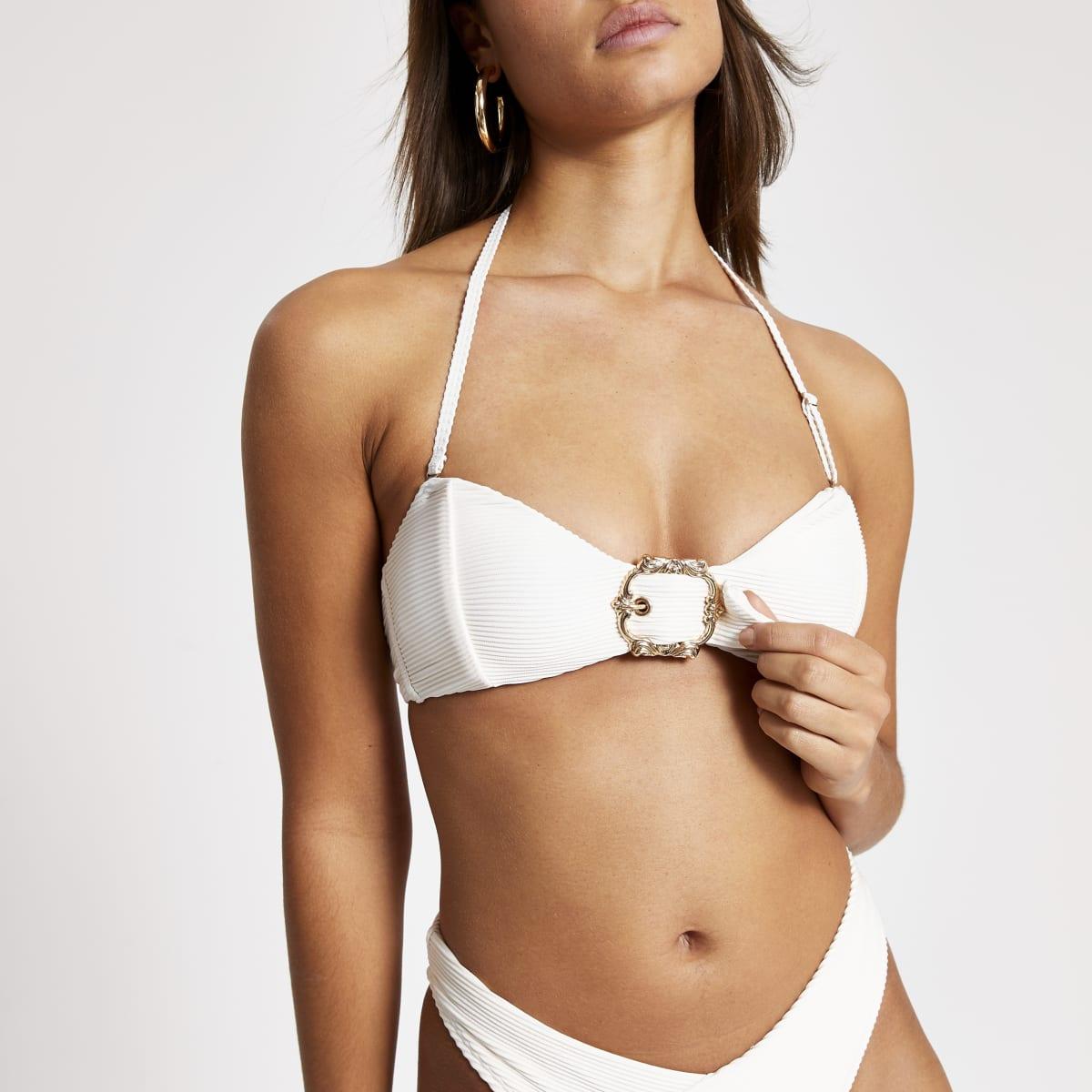 Cream bandeau buckle ribbed bikini top