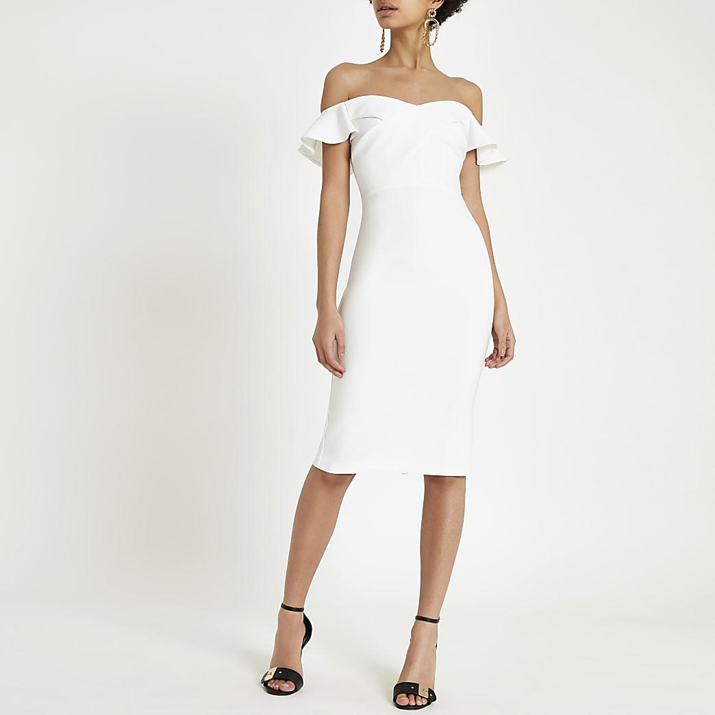Cream bardot ruffle midi bodycon dress