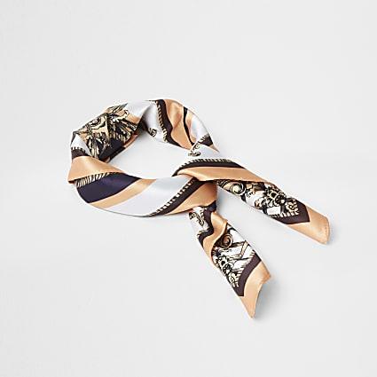 Cream baroque print satin scarf