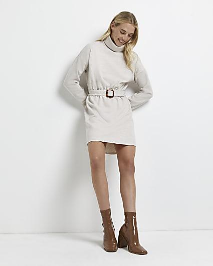 Cream belted jumper dress