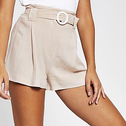 Cream belted linen short