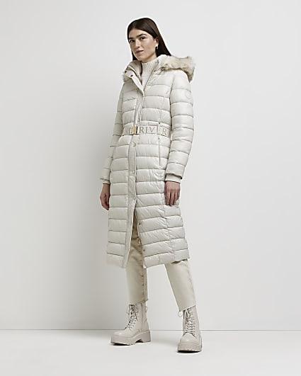 Cream belted longline puffer coat