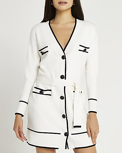 Cream belted mini dress