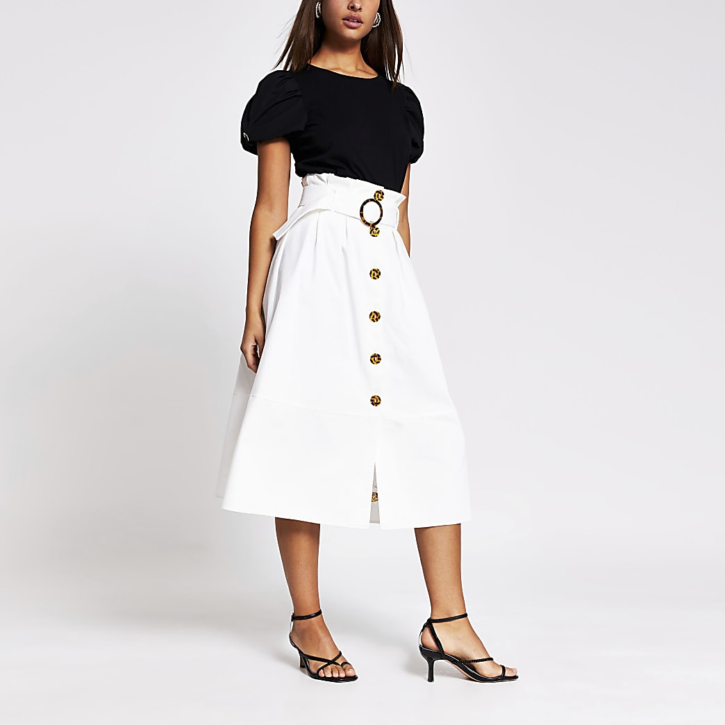 Cream belted structured midi skirt