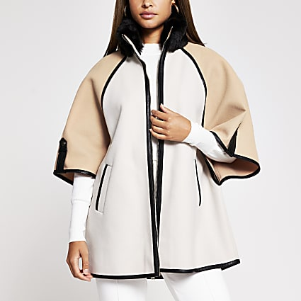 Cream blocked contrast cape