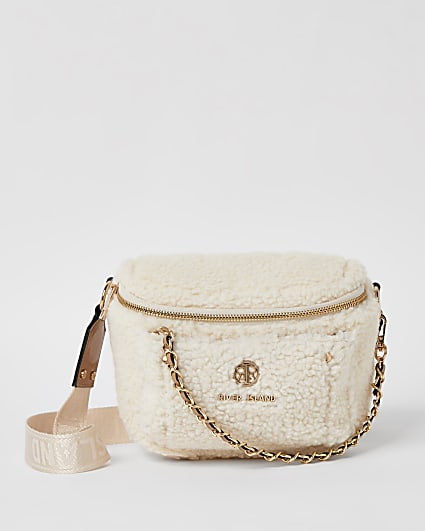 Cream borg chain cross body bag