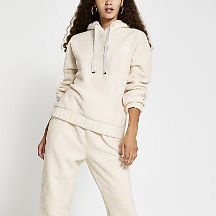 Cream borg RI long sleeve hoodie