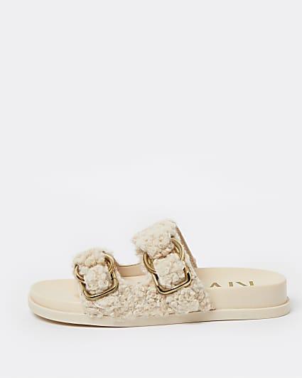 Cream borg sandals