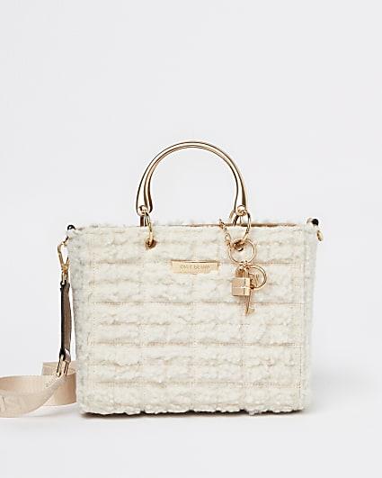 Cream borg tote bag