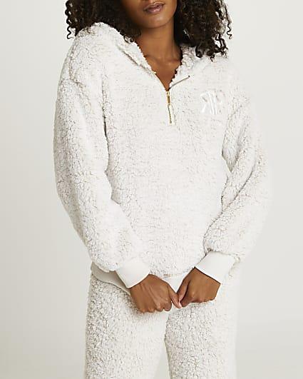Cream borg zip neck hoodie