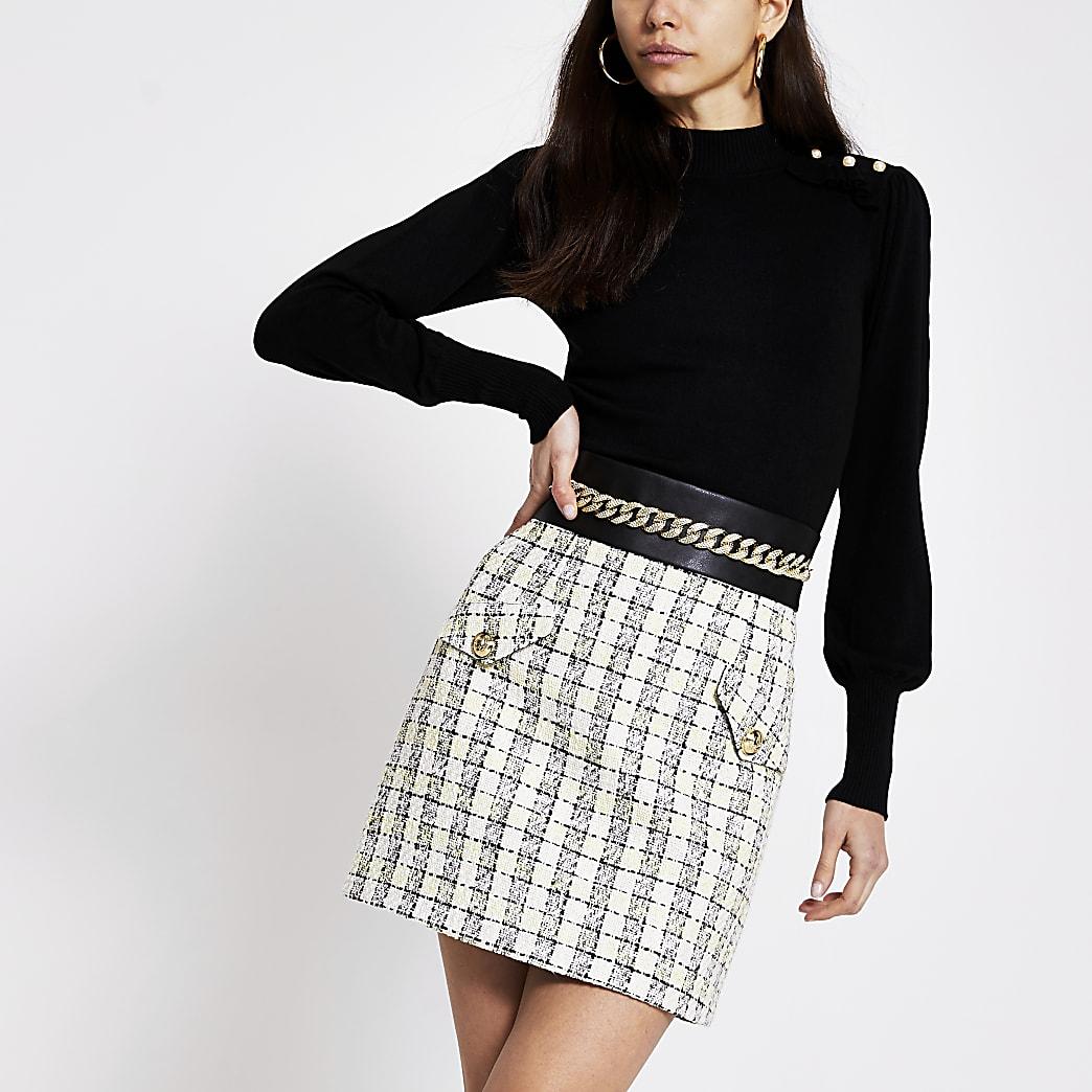 Cream boucle check chain waist mini skirt