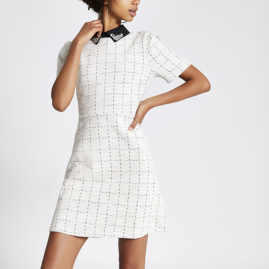 Cream boucle embellished collar mini dress