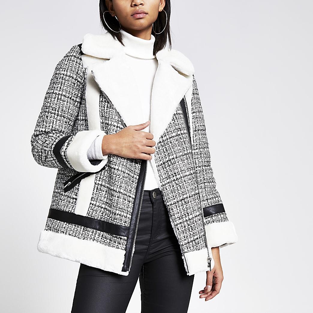Cream boucle faux fur aviator jacket
