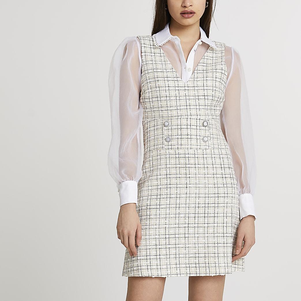 Cream boucle pinafore mini dress