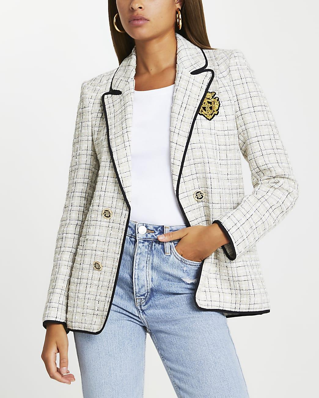 Cream boucle shoulder pad blazer