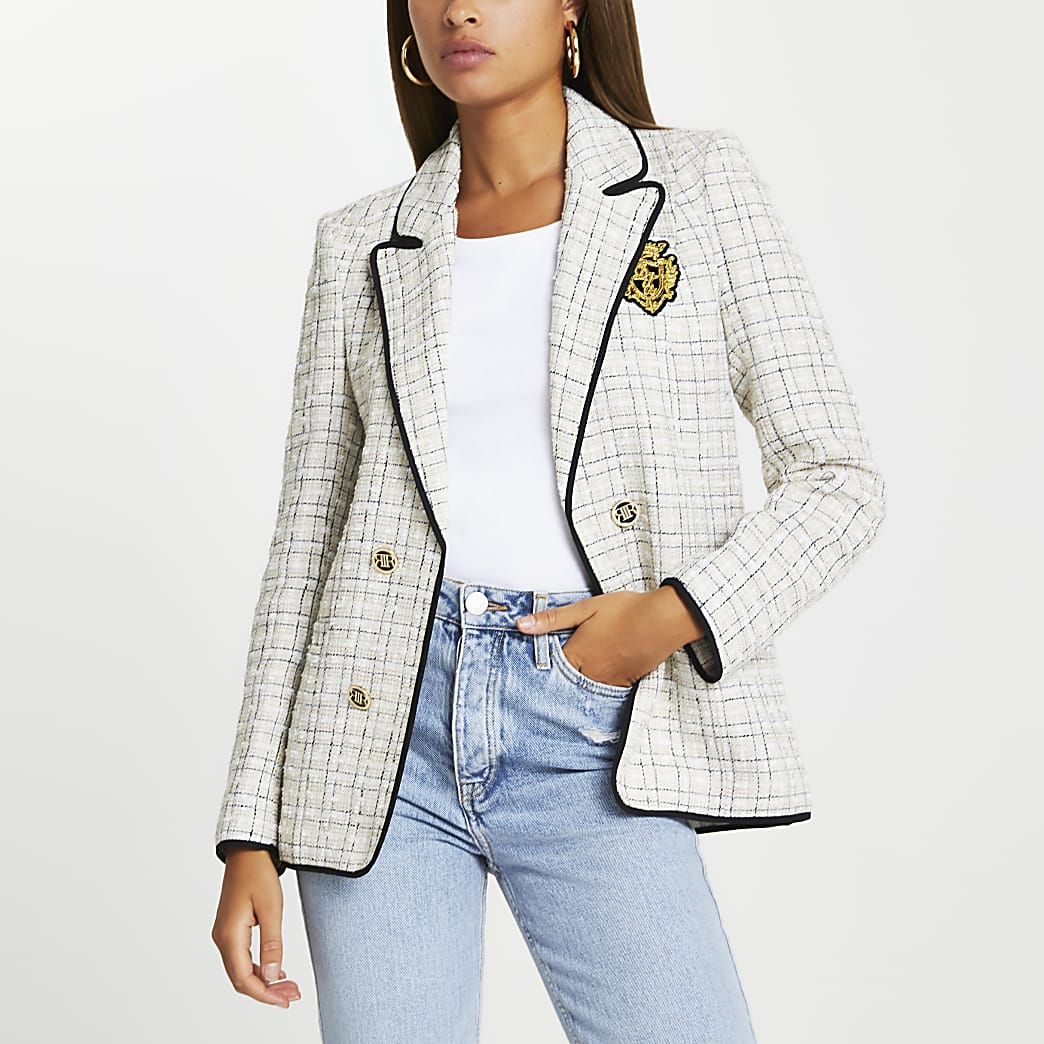 Cream boucle shoulder pad blazer