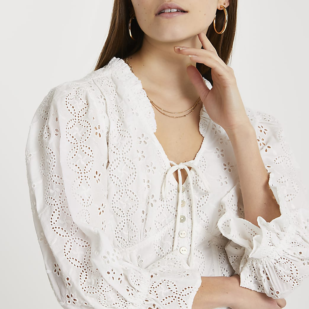Cream broderie corset crop blouse top