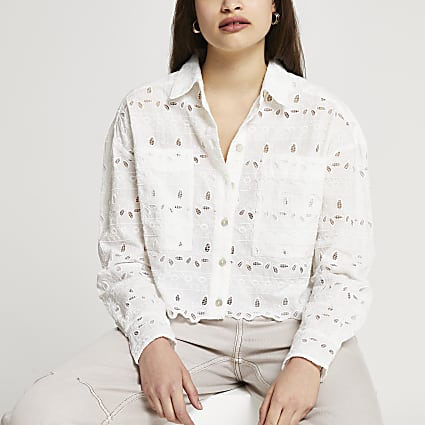 Cream broderie cropped shirt