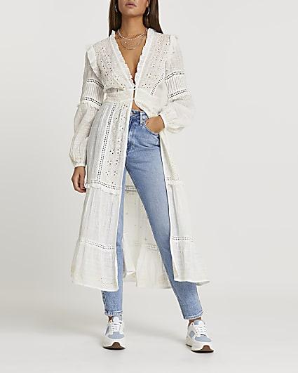 Cream broderie maxi blouse top