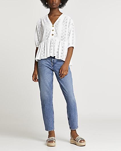 Cream broderie short sleeve top