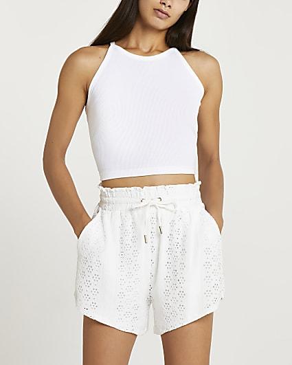 Cream broderie shorts