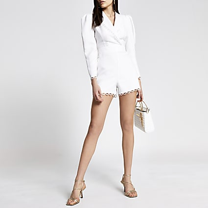 Cream broderie trim tailored playsuit