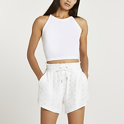 Cream broidery shorts