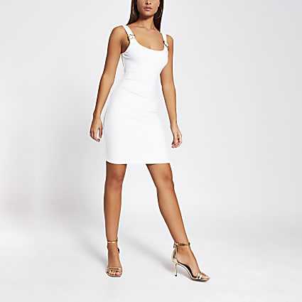 Cream buckle strap bodycon mini dress