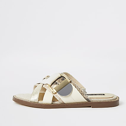 Cream buckle studded strap Mule sandals