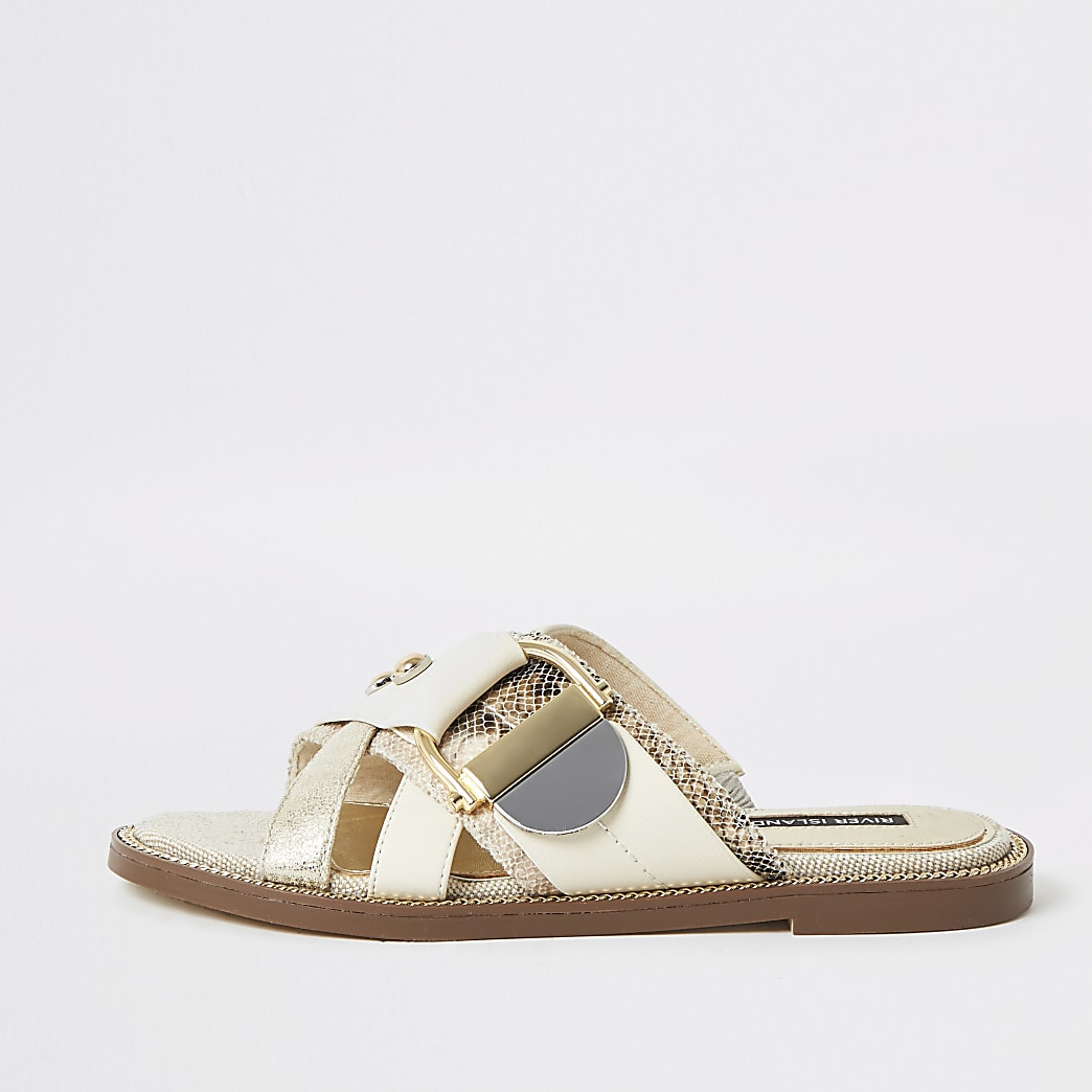 Cream buckle studded strap sandals