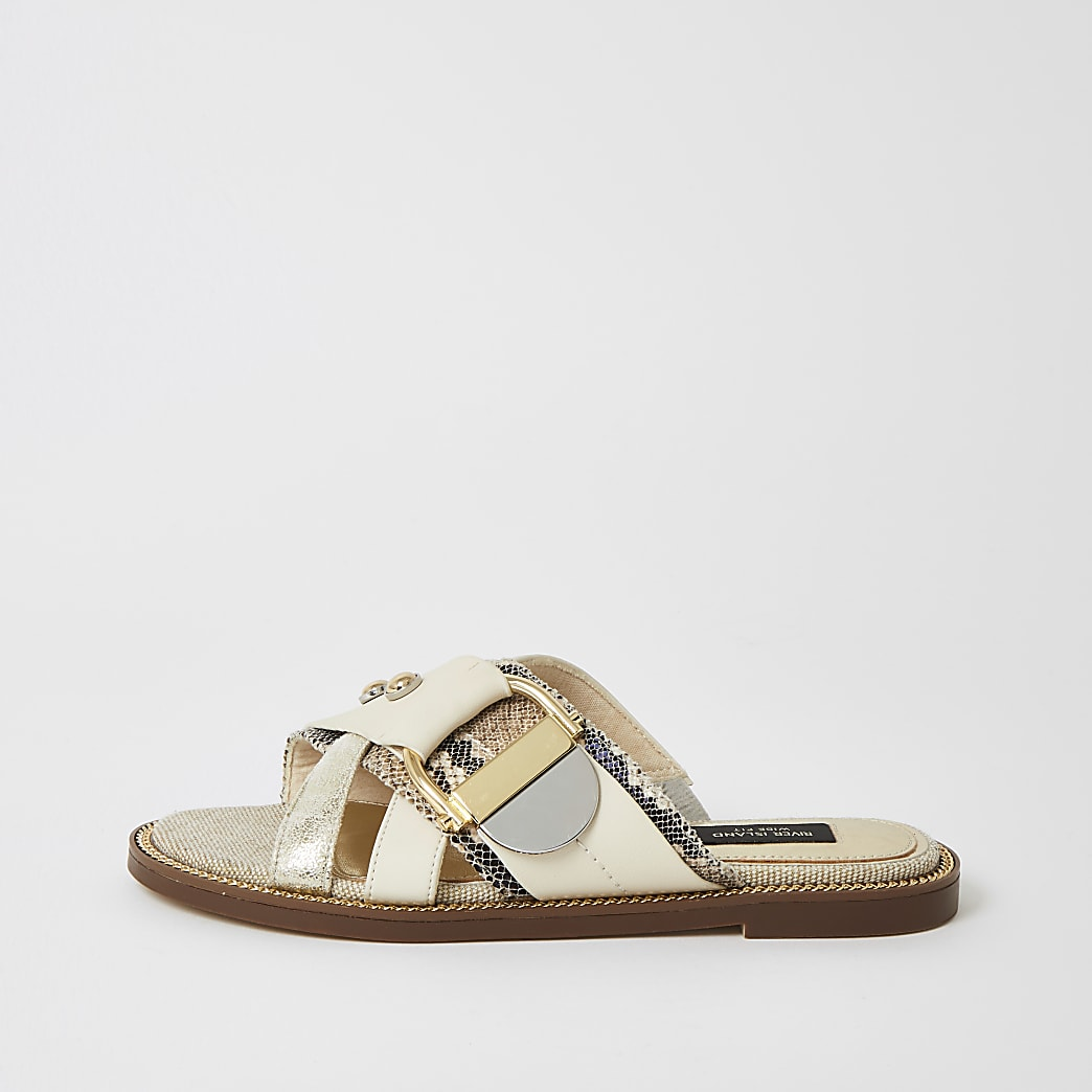 Cream buckle studded strap wide fit sandals